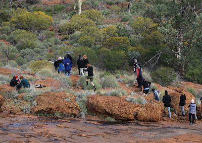 Children going for walk and explore the desert