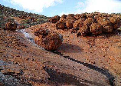 Several massive boulders